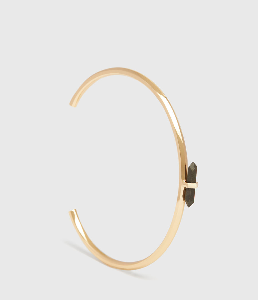 Women's Ella Gold Tone Semi-Precious Pyrite Cuff Bracelet (pyrite) - Image 2