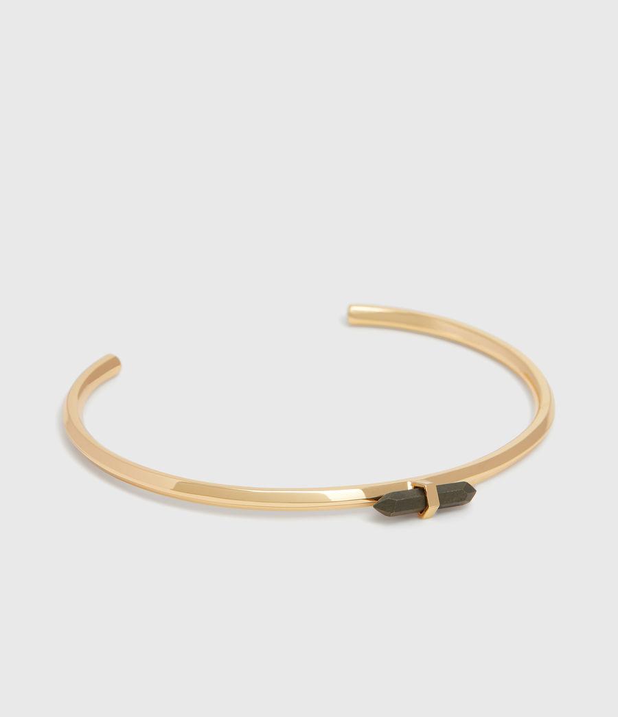 Women's Ella Gold Tone Semi-Precious Pyrite Cuff Bracelet (pyrite) - Image 3