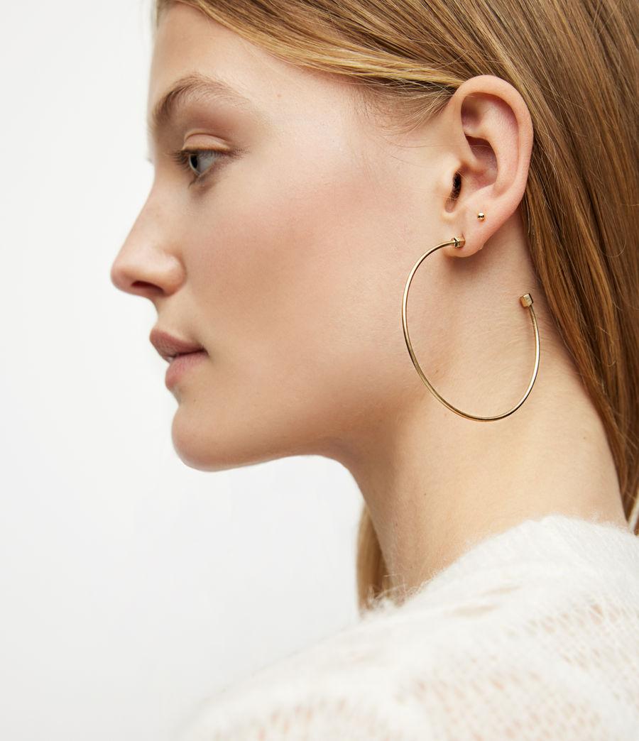 Women's Skinny Gold-Tone Hoop Earrings (warm_brass) - Image 2