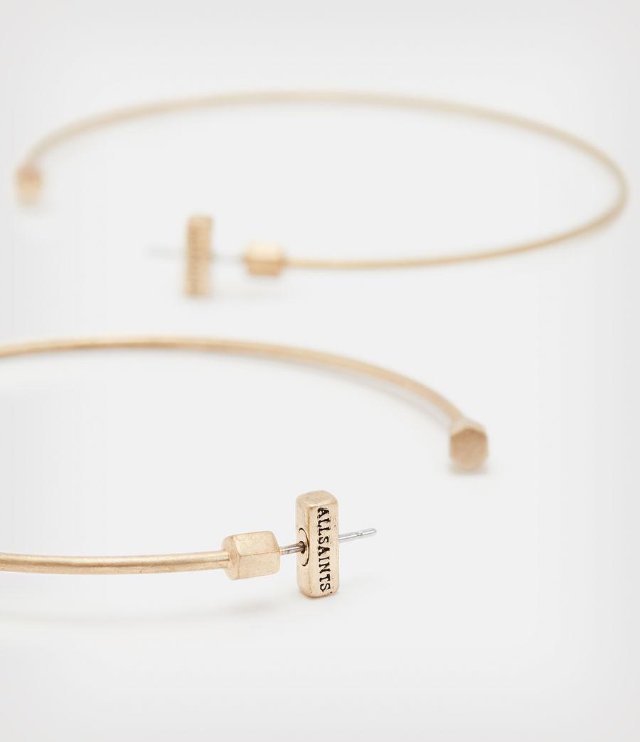 Women's Skinny Gold-Tone Hoop Earrings (warm_brass) - Image 3