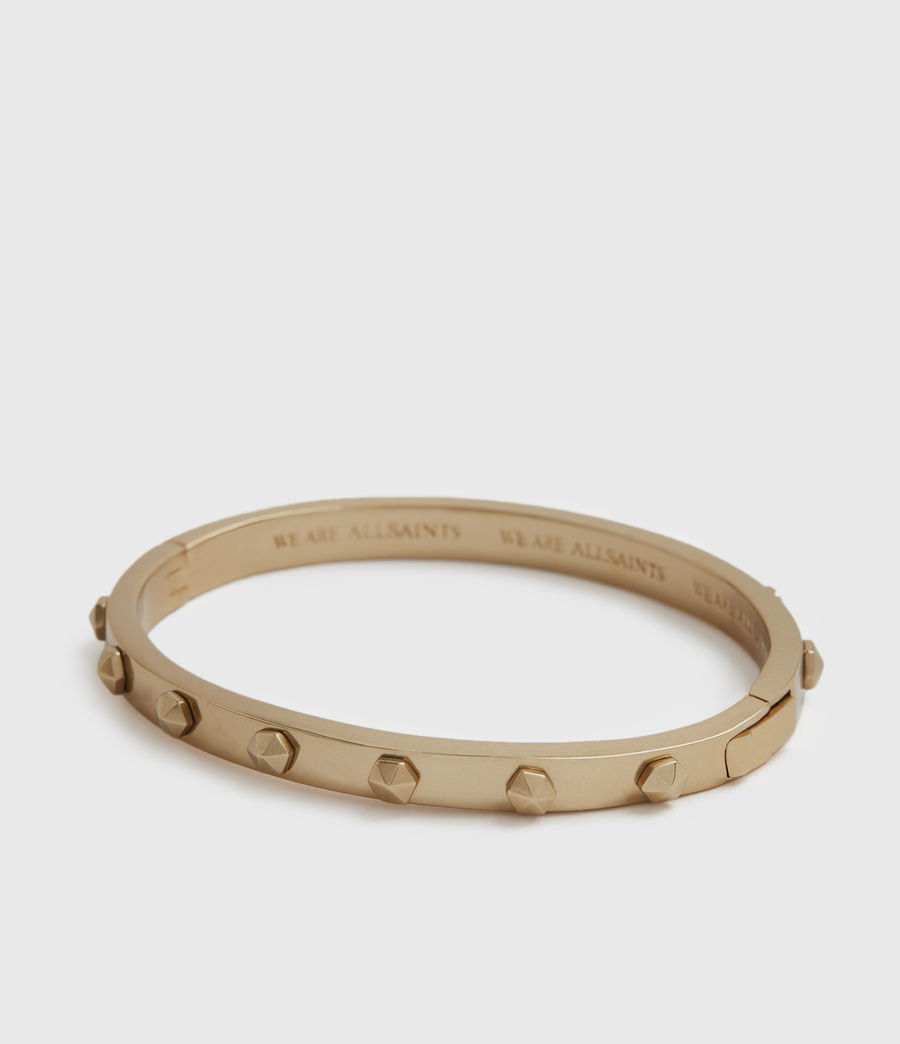 Womens Hex Gold-Tone Bangle (warm_brass) - Image 4