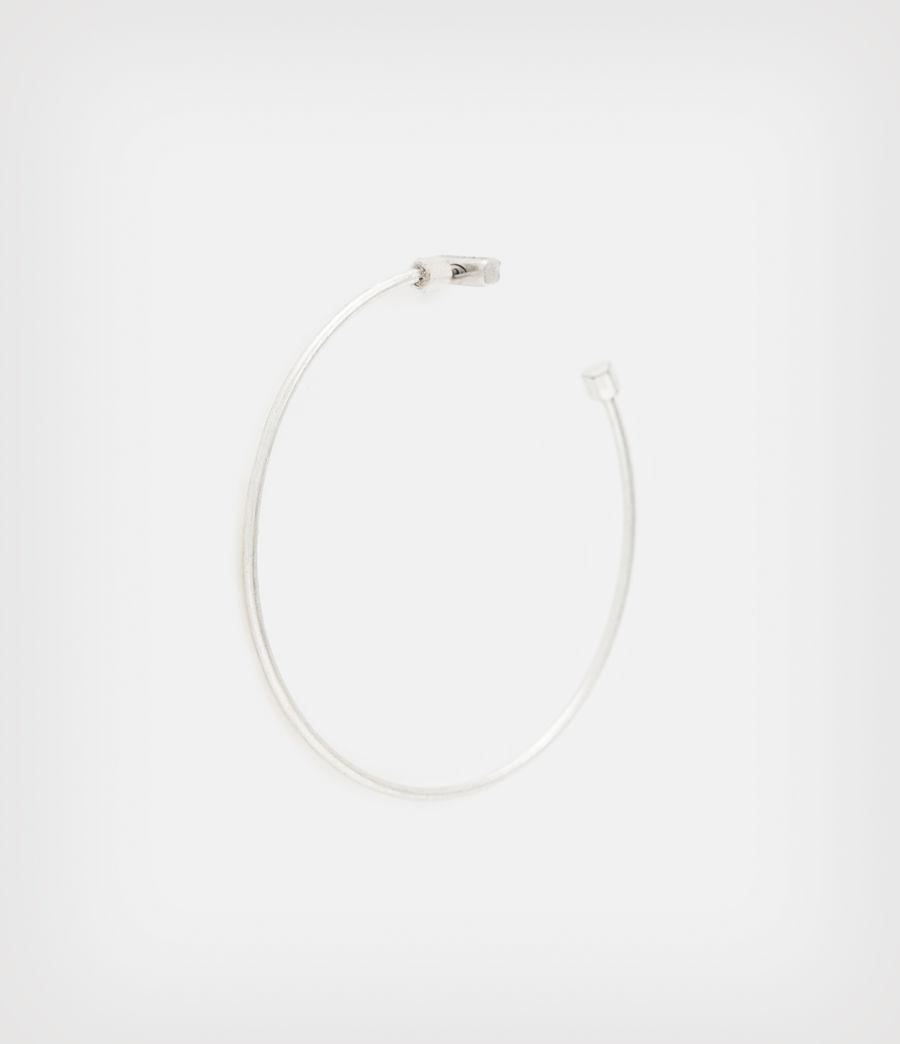 Women's Skinny Silver-Tone Hoop Earrings (warm_silver) - Image 3