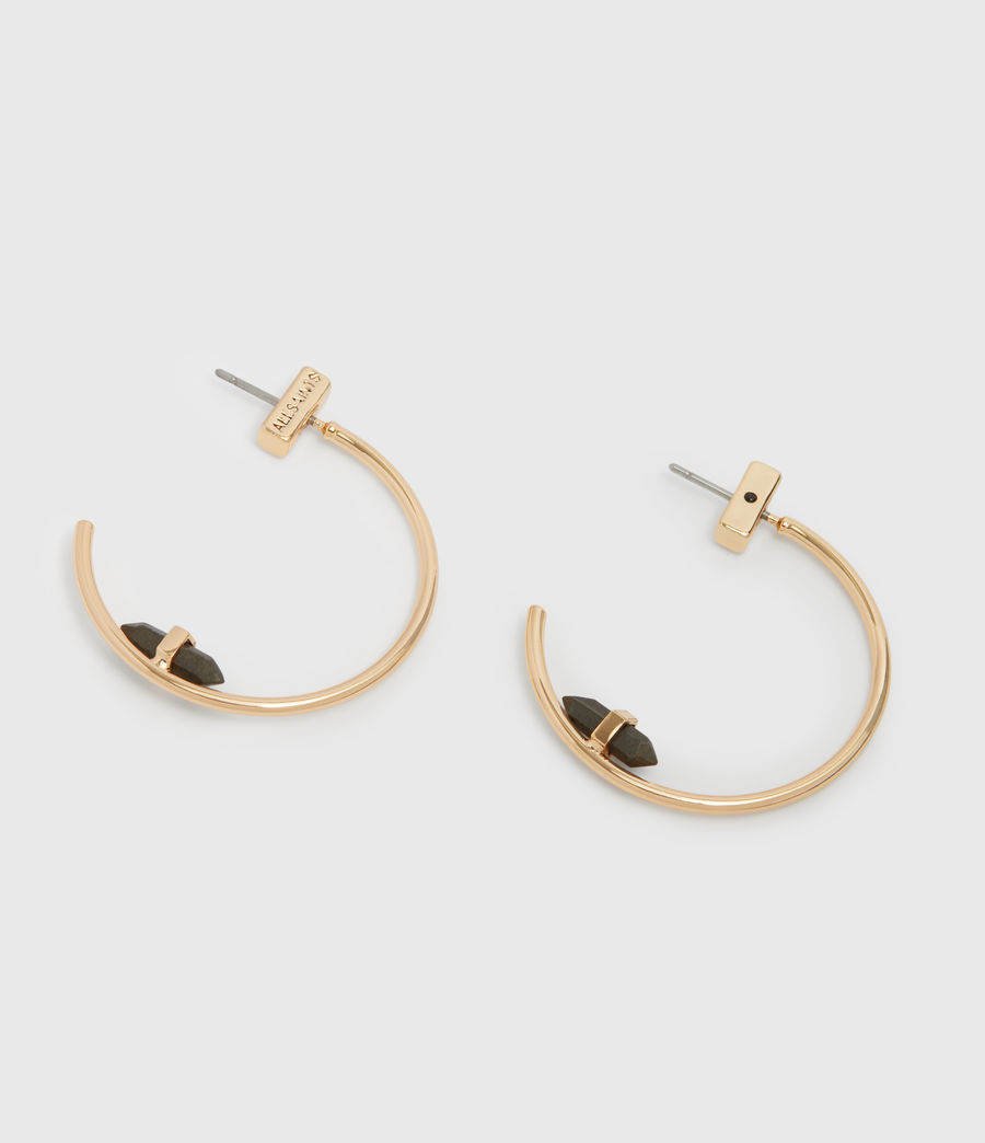 Womens Serena Gold Tone Semi-Precious Pyrite Hoop Earrings (pyrite) - Image 2