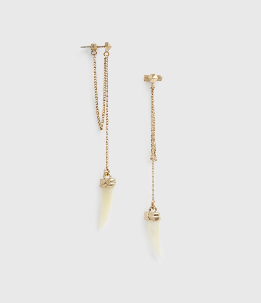 Womens Clara Gold-Tone Mother Of Pearl Drop Earrings (white_warm_brass) - Image 2