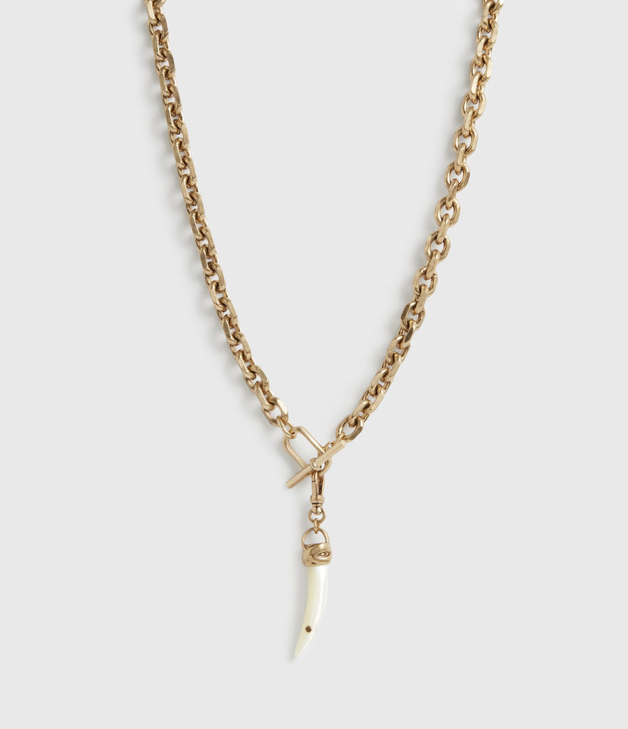 Womens Denver Gold-Tone Mother Of Pearl Chain Necklace (white_warm_brass) - Image 3