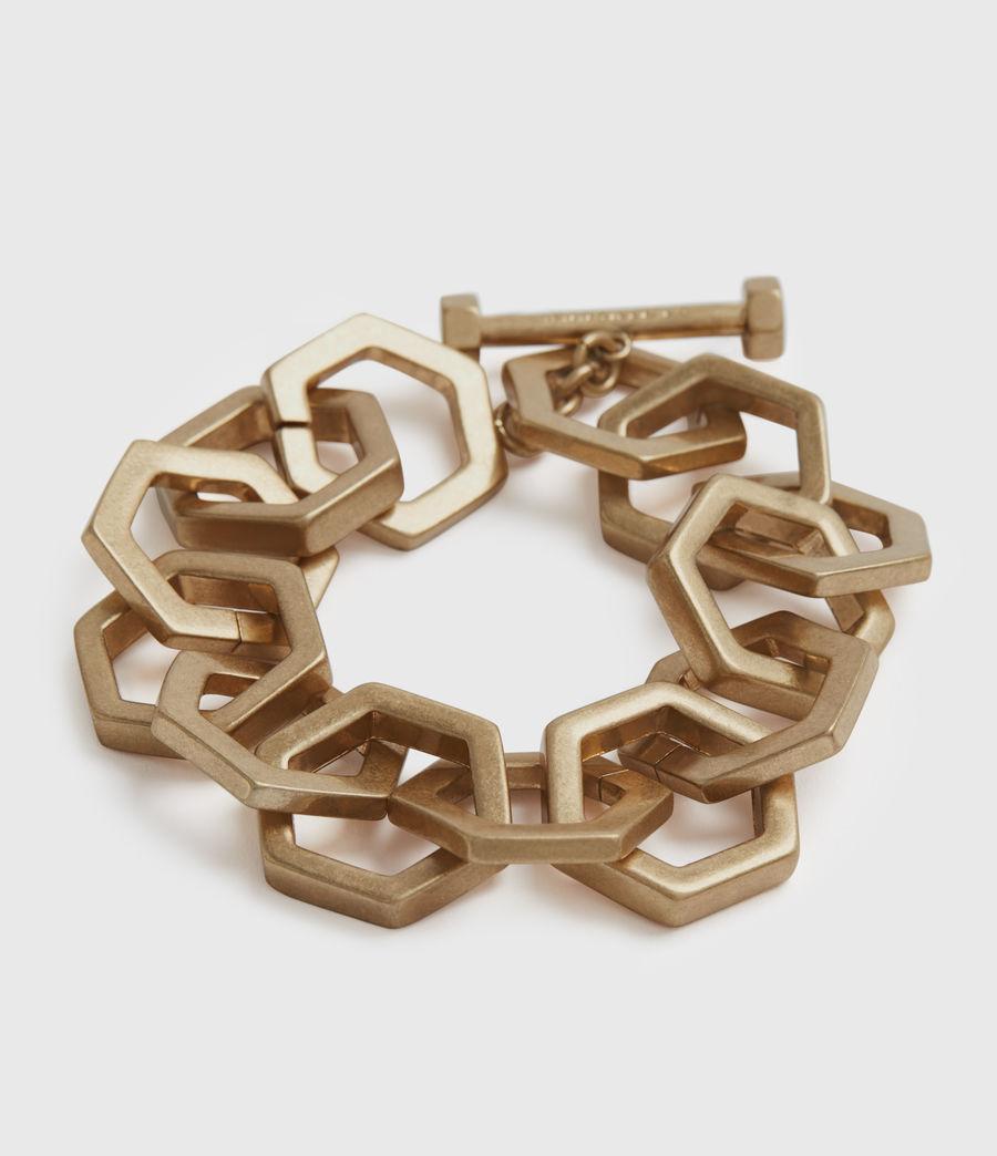 Womens Hexlink Gold-Tone Bracelet (warm_brass) - Image 1