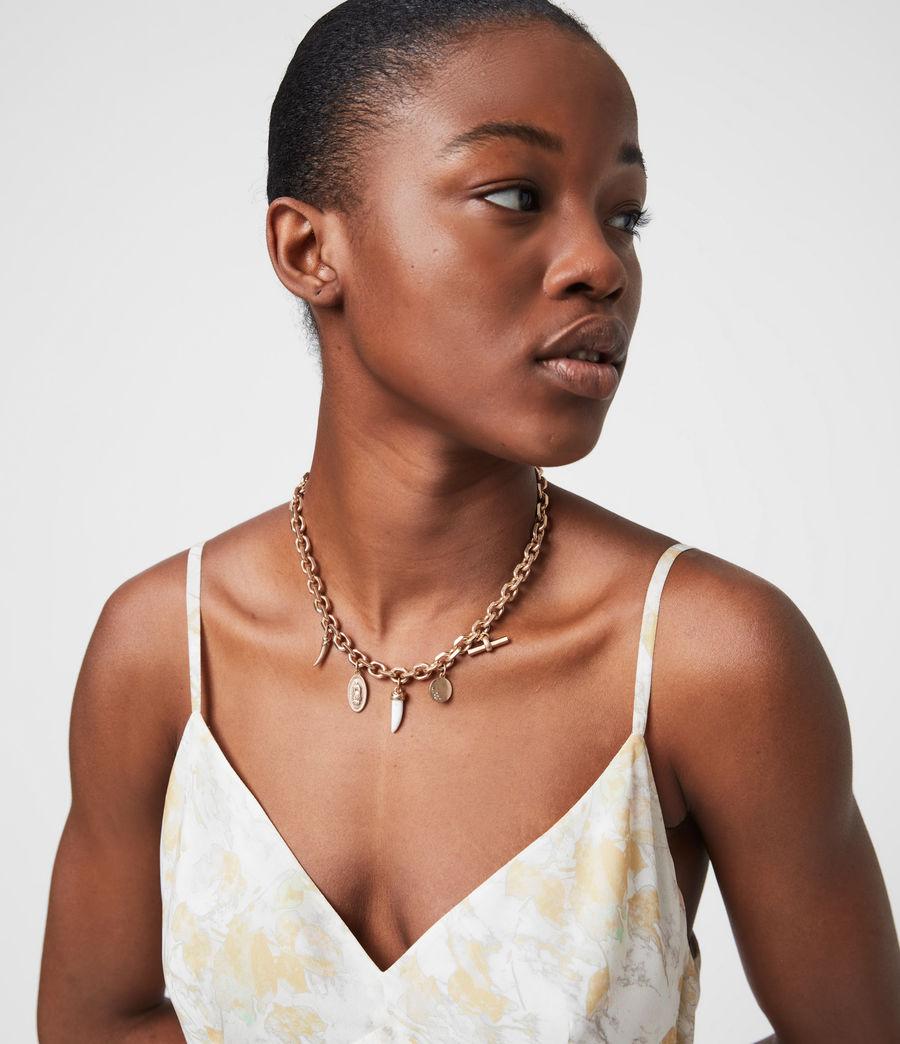 Women's Kina Gold-Tone Necklace (white_warm_brass) - Image 2