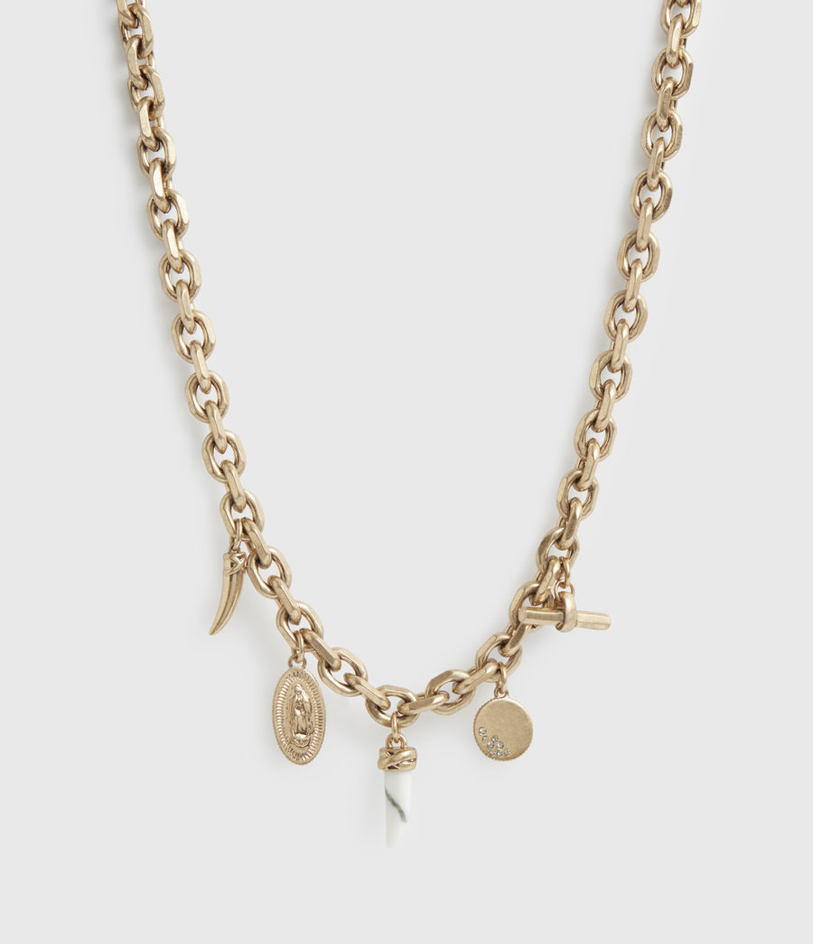 Women's Kina Gold-Tone Necklace (white_warm_brass) - Image 3