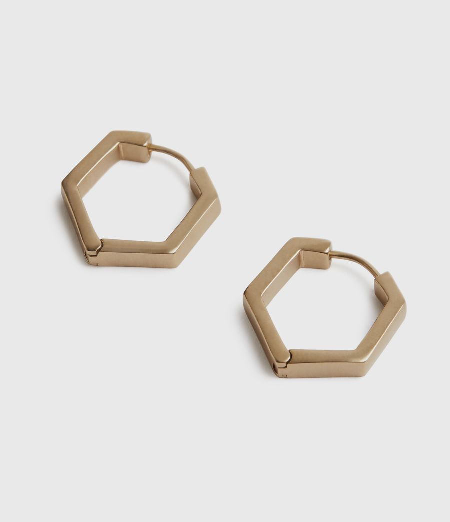 Womens Hexhoop Gold-Tone Earrings (warm_brass) - Image 2