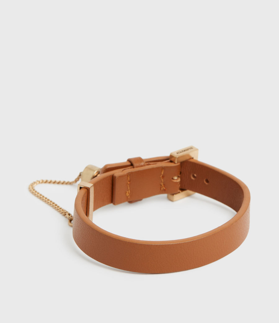 Women's Cristi Leather Bracelet (tan_warm_brass) - Image 4