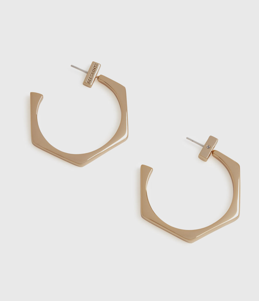 Women's Hexpen Gold-Tone Hoop Earrings (warm_brass) - Image 2