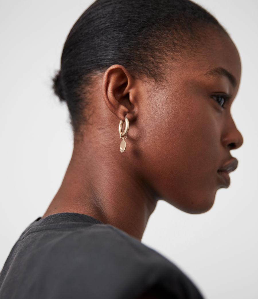 Women's Isla Gold-Tone Huggie Earrings (black_warm_brass) - Image 4