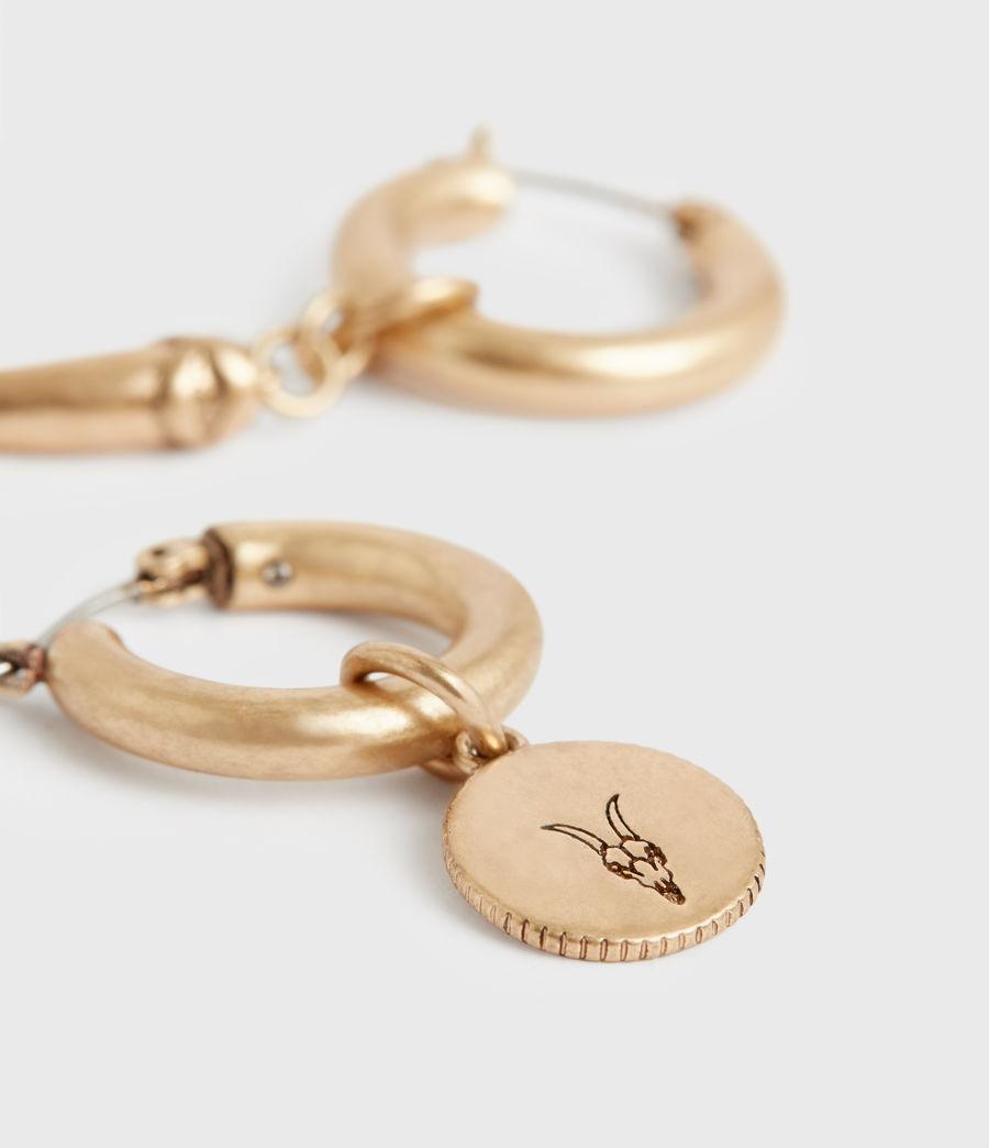 Women's Isla Gold-Tone Huggie Earrings (black_warm_brass) - Image 5