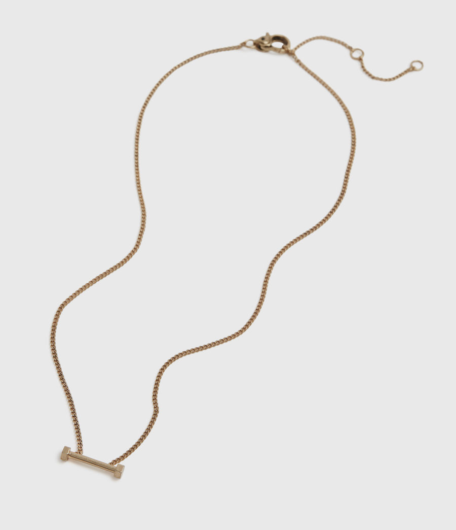 Womens Hexbar Gold-Tone Pendant Necklace (warm_brass) - Image 2