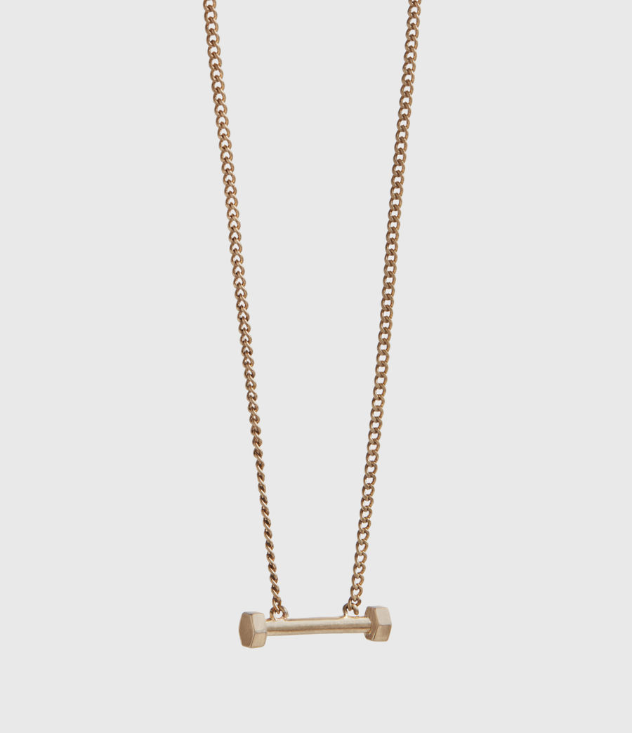 Womens Hexbar Gold-Tone Pendant Necklace (warm_brass) - Image 3