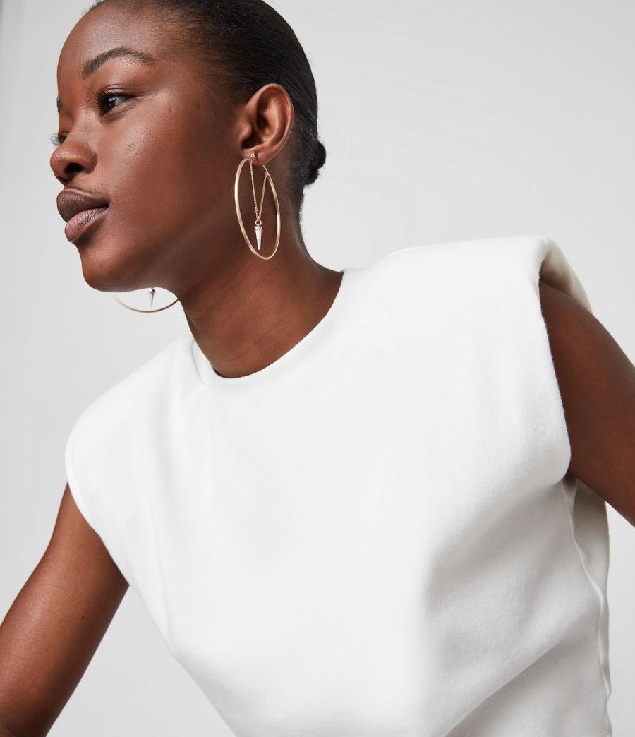 Women's Drop Horn Gold-Tone Hoop Earrings (white_warm_brass) - Image 1