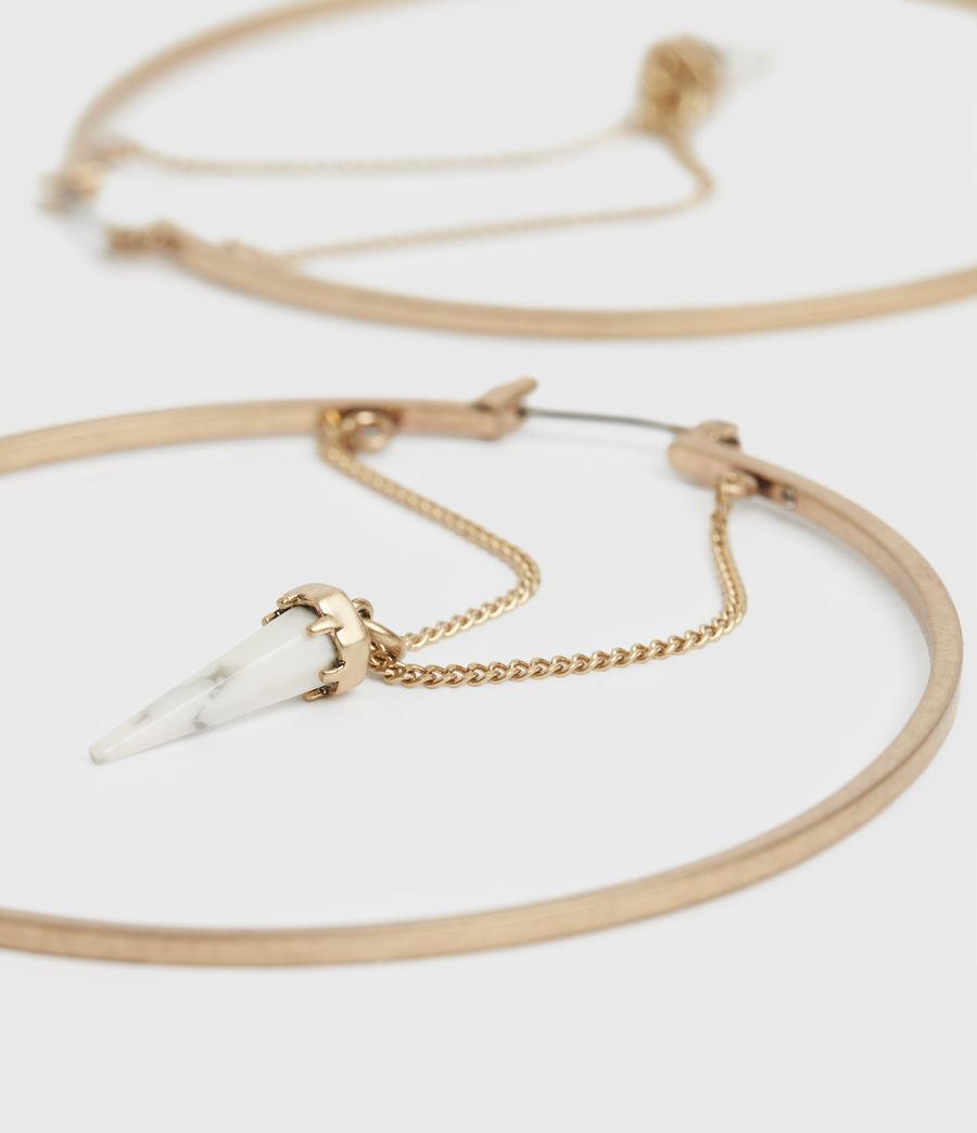 Women's Drop Horn Gold-Tone Hoop Earrings (white_warm_brass) - Image 2