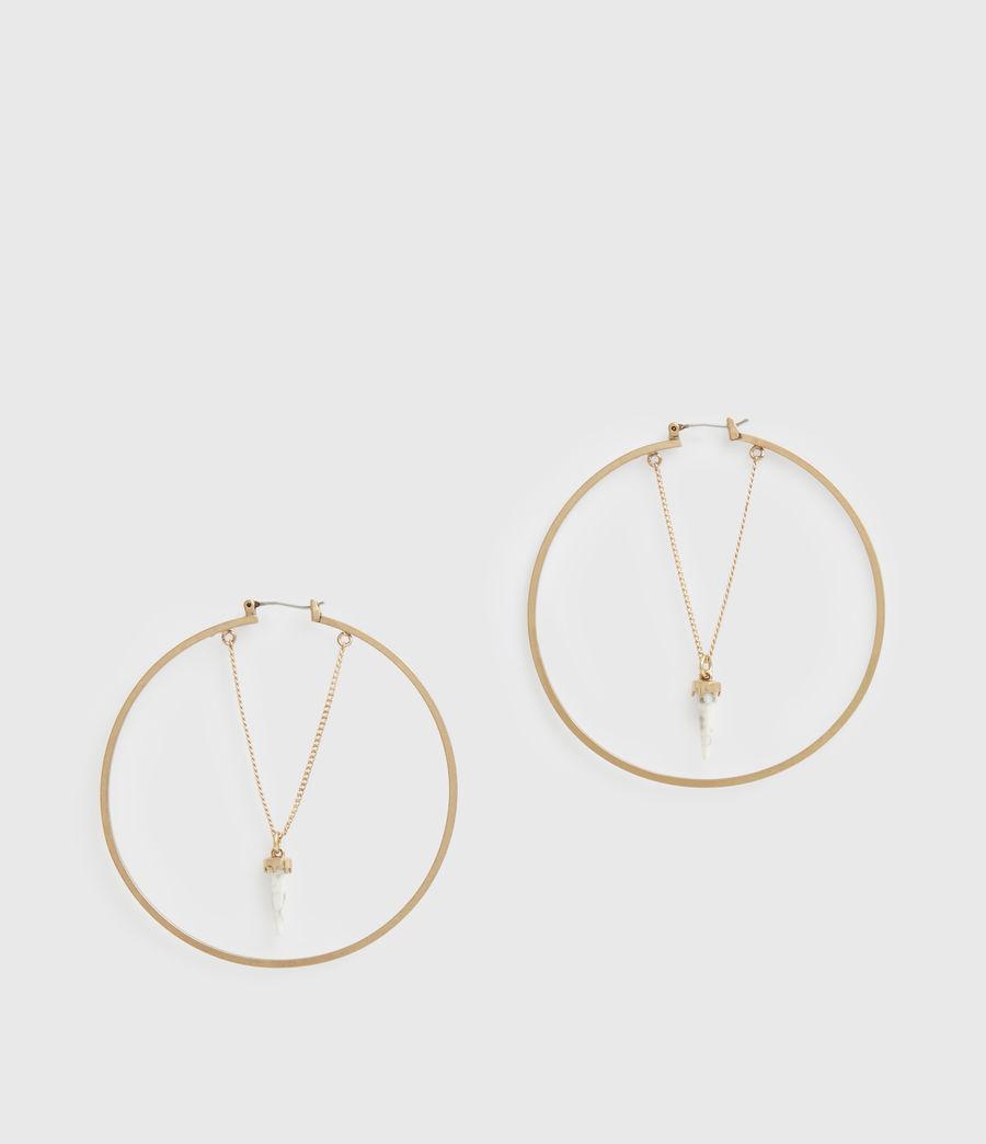 Women's Drop Horn Gold-Tone Hoop Earrings (white_warm_brass) - Image 3