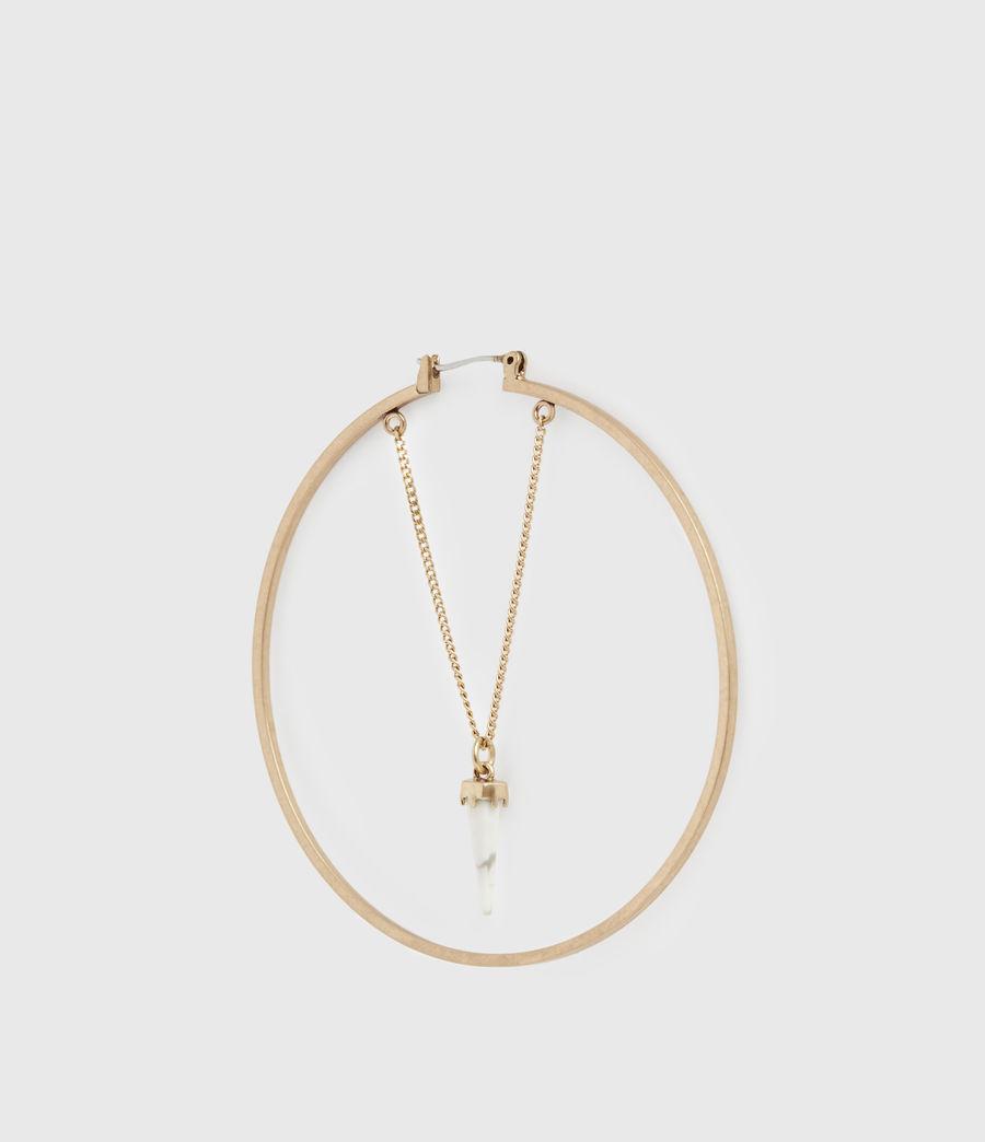 Women's Drop Horn Gold-Tone Hoop Earrings (white_warm_brass) - Image 4