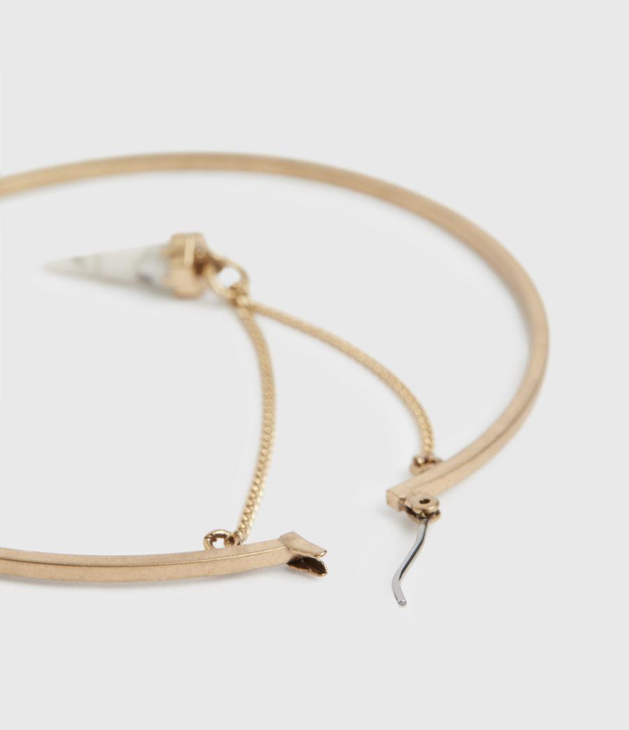 Women's Drop Horn Gold-Tone Hoop Earrings (white_warm_brass) - Image 5
