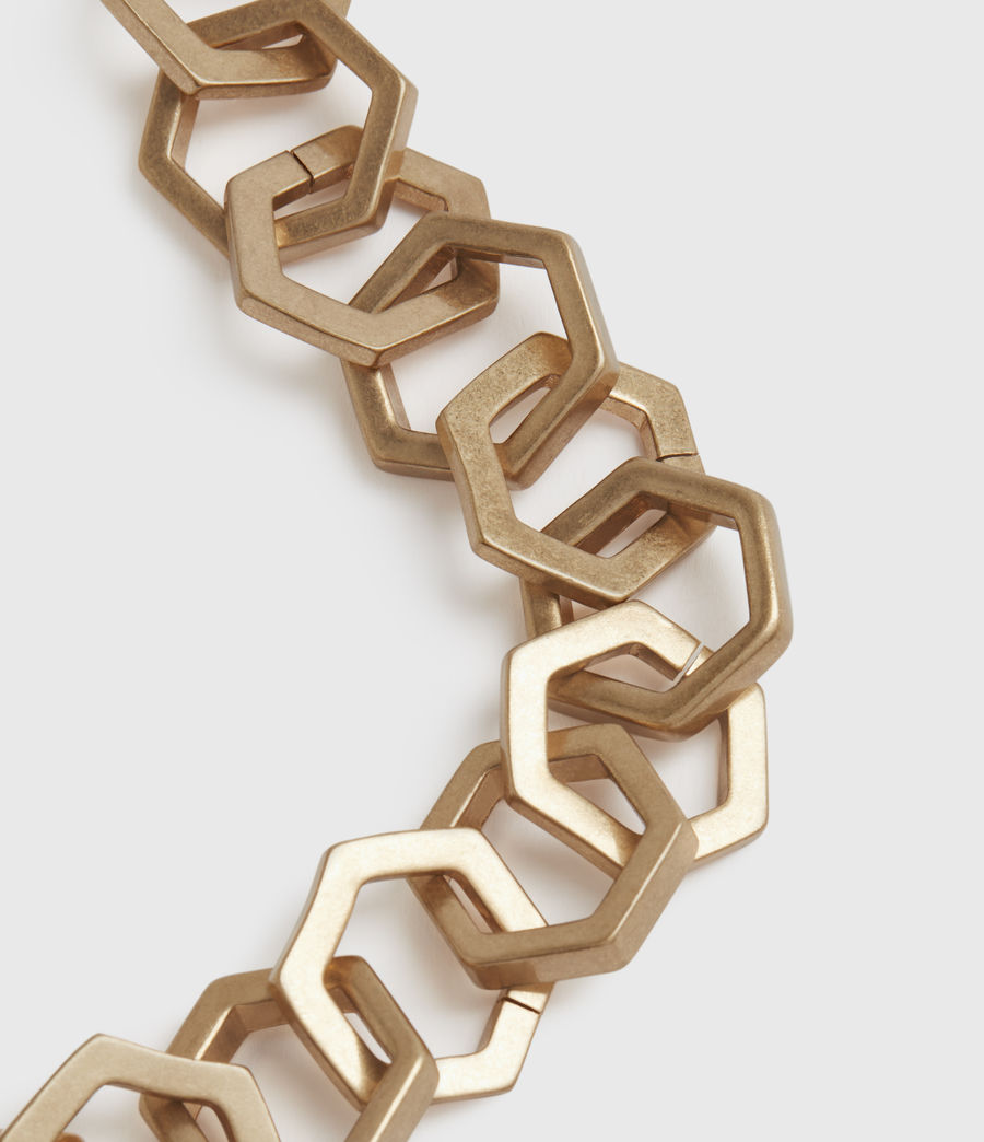 Womens Hexlink Gold-Tone Necklace (warm_brass) - Image 4