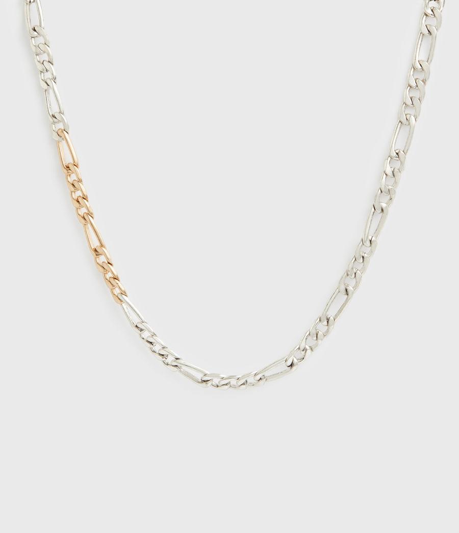 Women's Mix Chain Link Necklace (wrm_brss_wrm_silvr) - Image 3