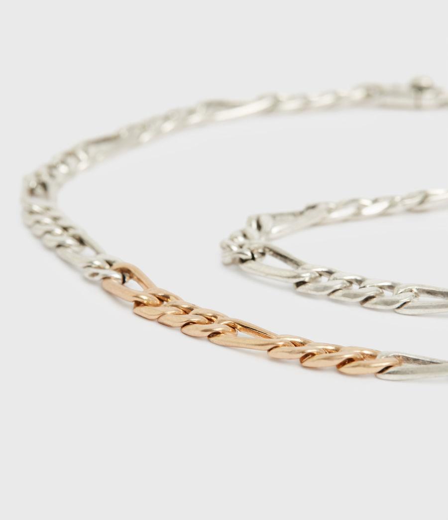 Women's Mix Chain Link Necklace (wrm_brss_wrm_silvr) - Image 4
