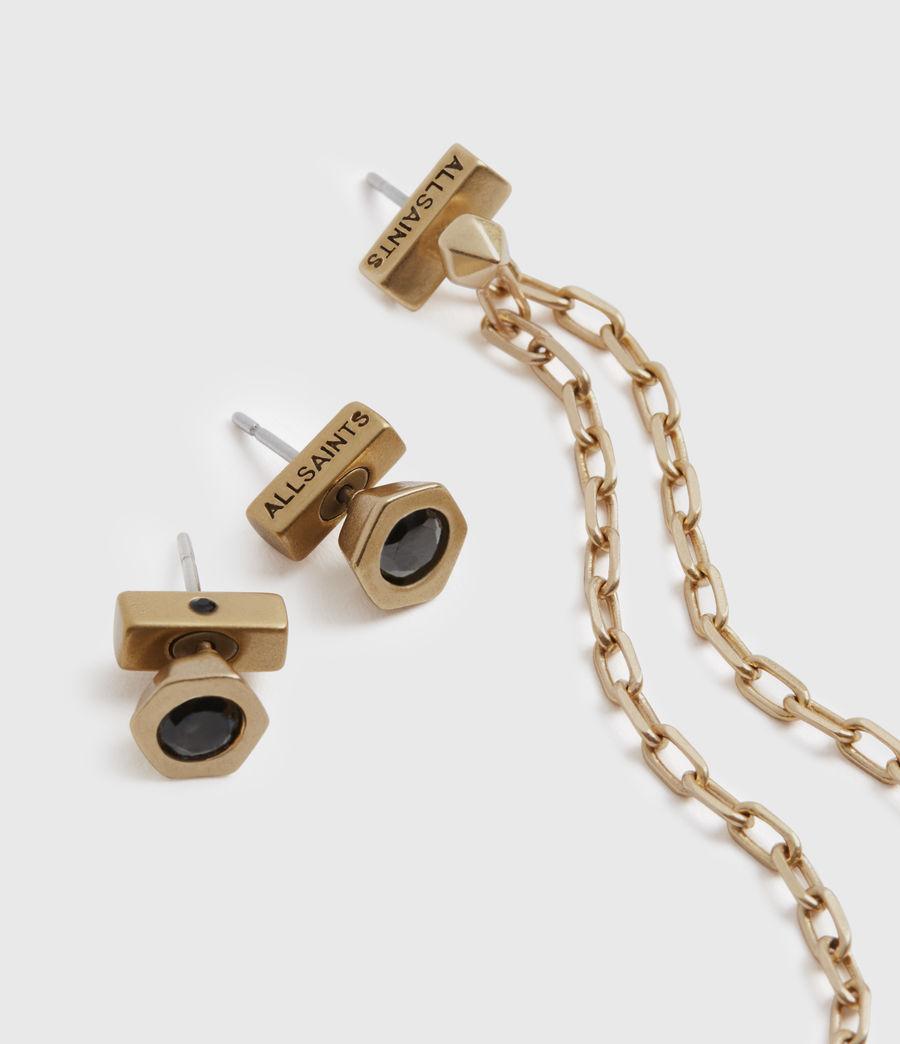 Womens Bijou Gold-Tone Smokey Quatyz Ear Cuff Earring Set (smky_qrtz_wrm_brss) - Image 3