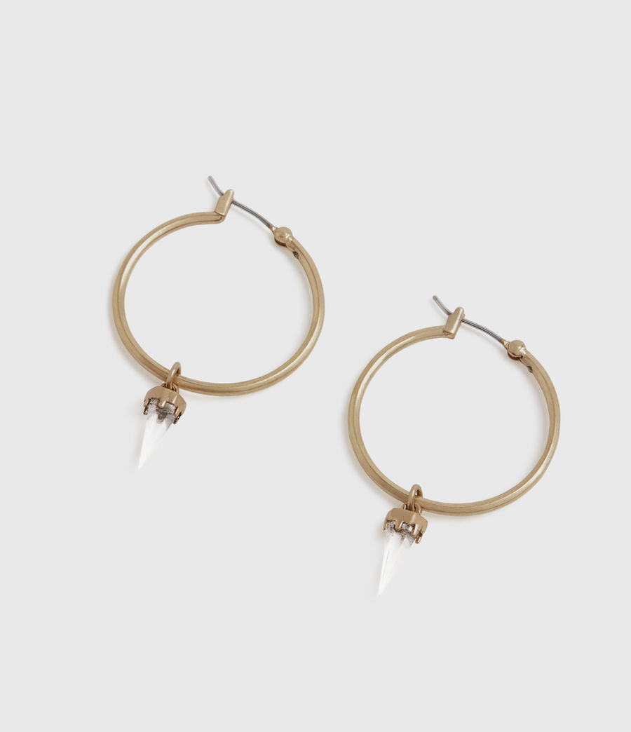 Womens Chantal Gold-Tone Hoop Earrings (crystal_warm_brass) - Image 3
