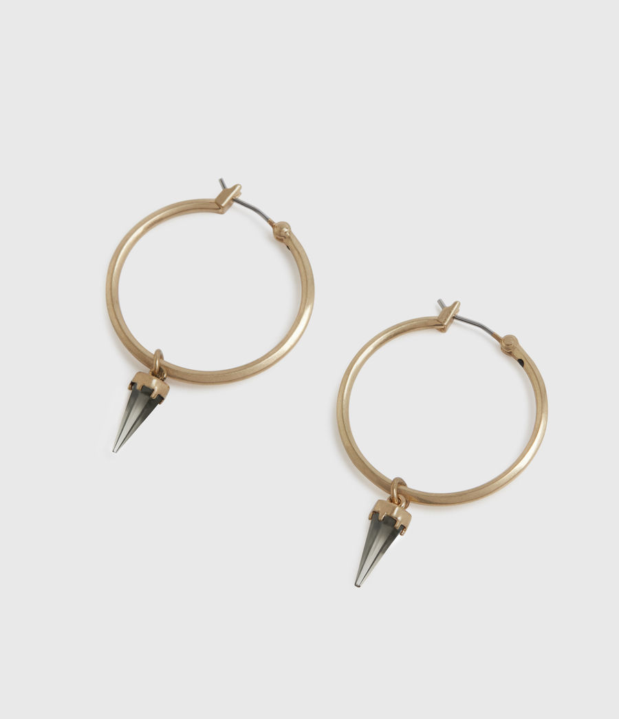 Women's Chantal Gold-Tone Smokey Quartz Hoop Earrings (smky_qrtz_wrm_brss) - Image 2