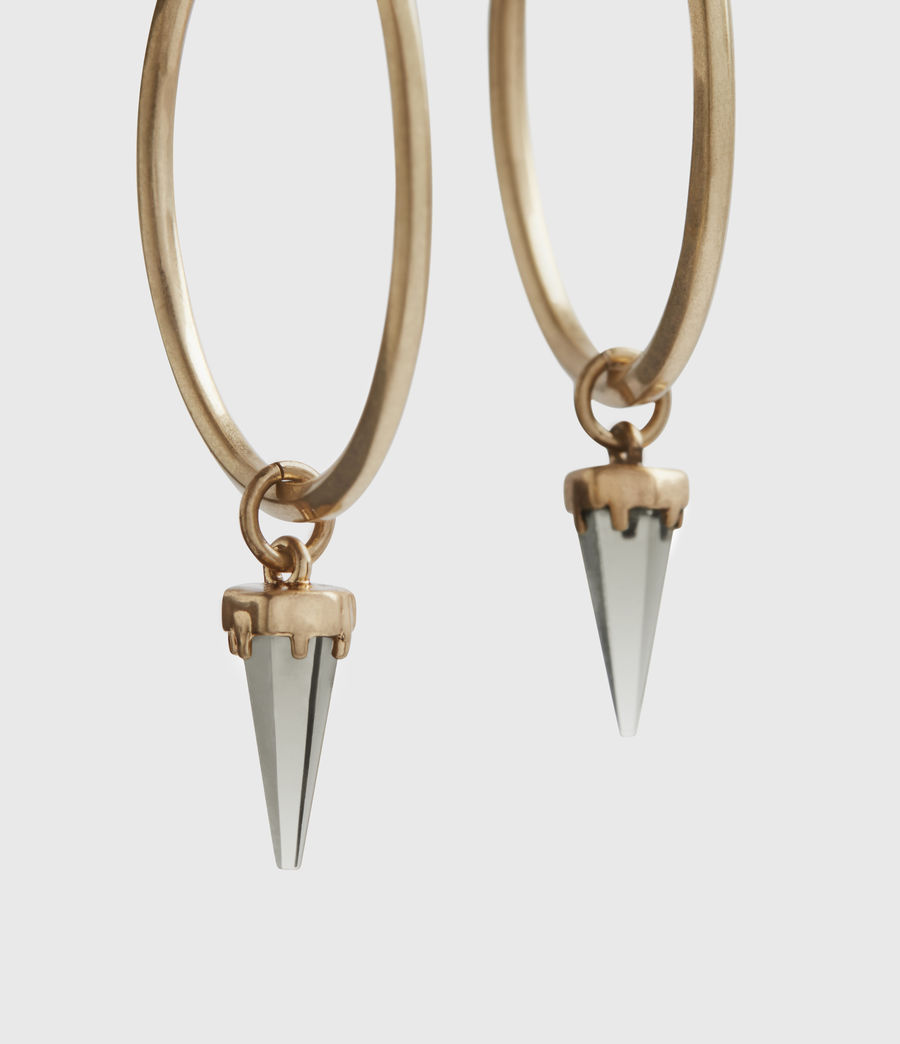 Women's Chantal Gold-Tone Smokey Quartz Hoop Earrings (smky_qrtz_wrm_brss) - Image 3