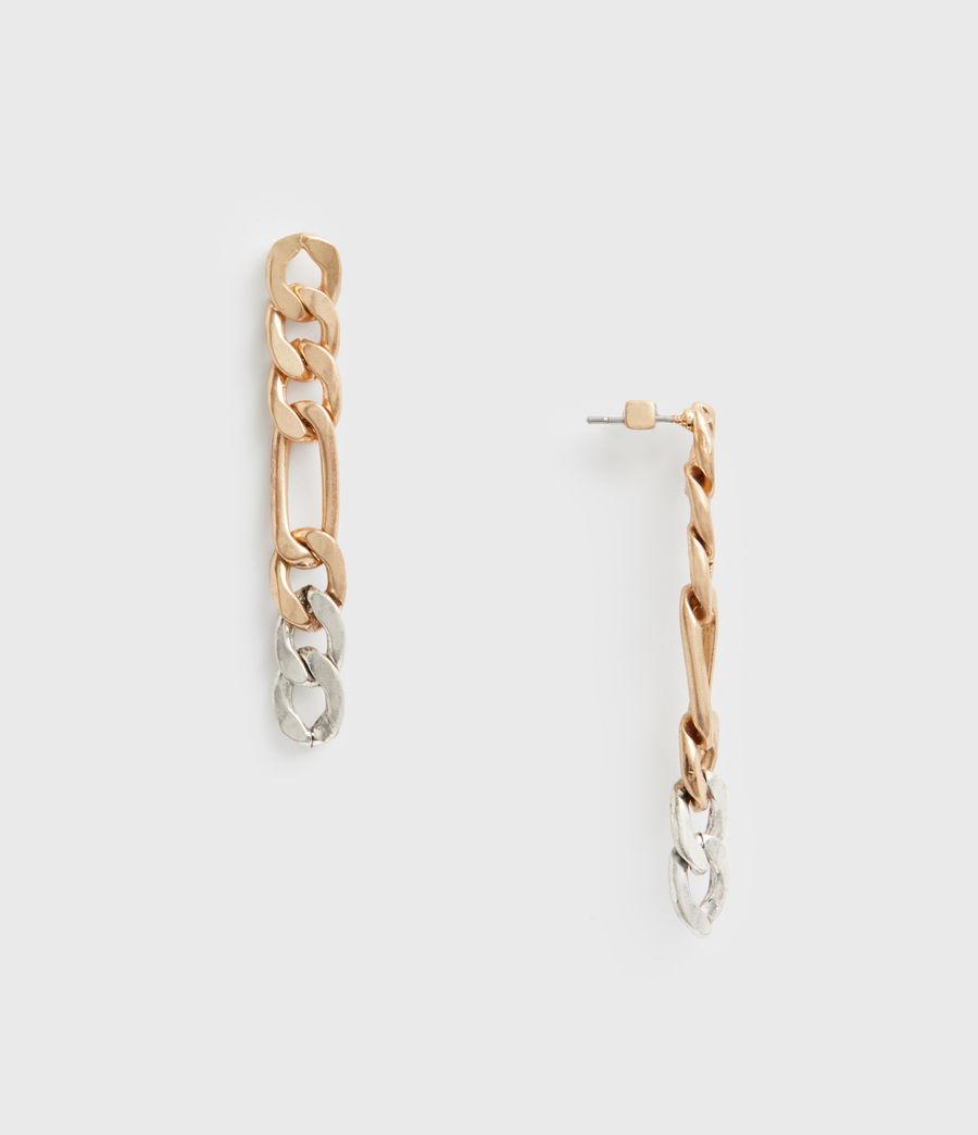 Women's Two Tone Chain Earrings (wrm_brss_wrm_silvr) - Image 1
