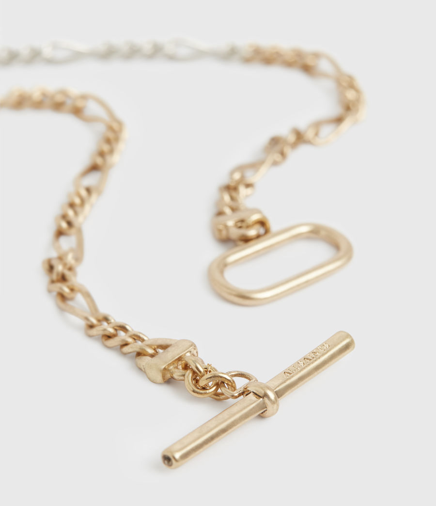 Women's Chain Mix Gold and Silver-Tone Anklet (warm_brass_silver) - Image 1