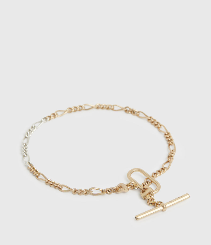 Women's Chain Mix Gold and Silver-Tone Anklet (warm_brass_silver) - Image 3