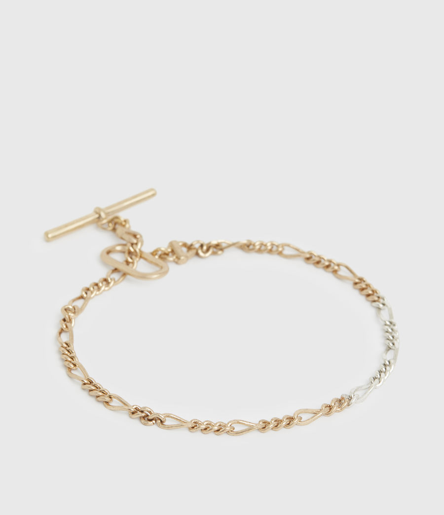 Women's Chain Mix Gold and Silver-Tone Anklet (warm_brass_silver) - Image 4
