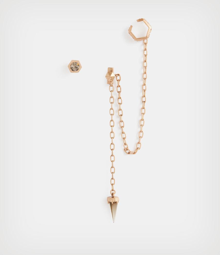 Damen Bijou Huggie Ohrring (smoky_quartz_brass) - Image 2
