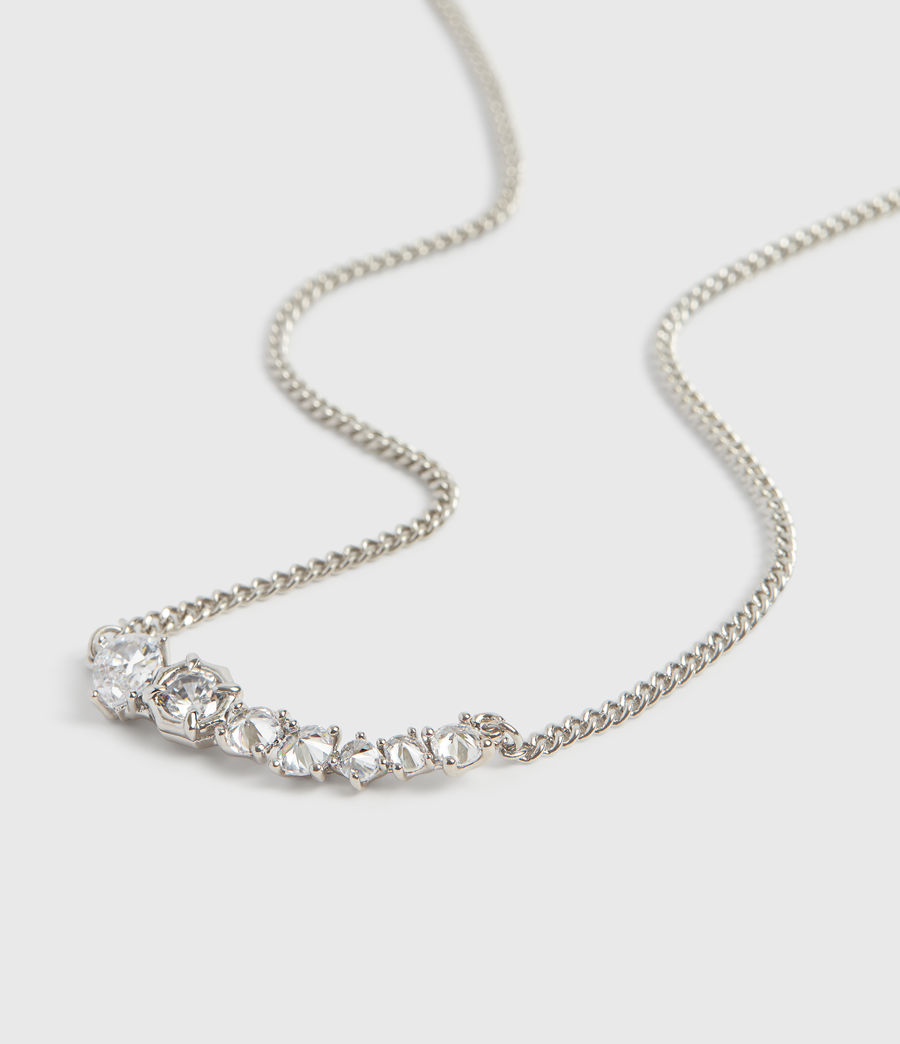 Women's Lucia Silver Tone Glass Cubic Zirconia Necklace (rhodium) - Image 1