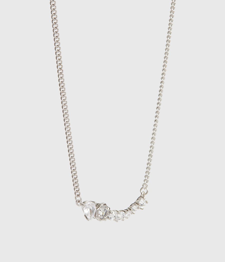 Women's Lucia Silver Tone Glass Cubic Zirconia Necklace (rhodium) - Image 3