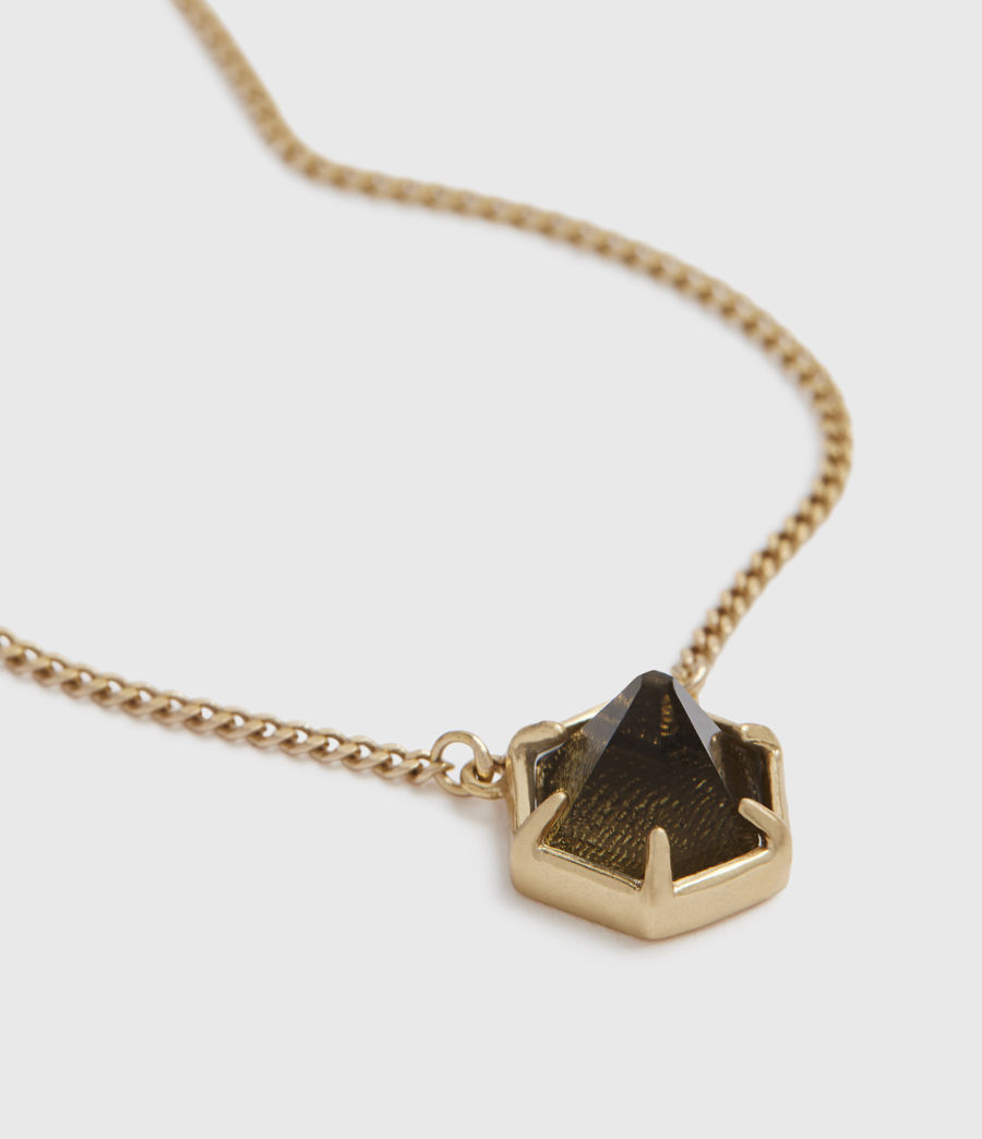 Womens Kimona Gold-Tone Smokey Quartz Necklace (smky_qrtz_wrm_brss) - Image 2