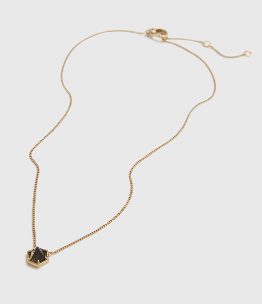 Womens Kimona Gold-Tone Smokey Quartz Necklace (smky_qrtz_wrm_brss) - Image 4