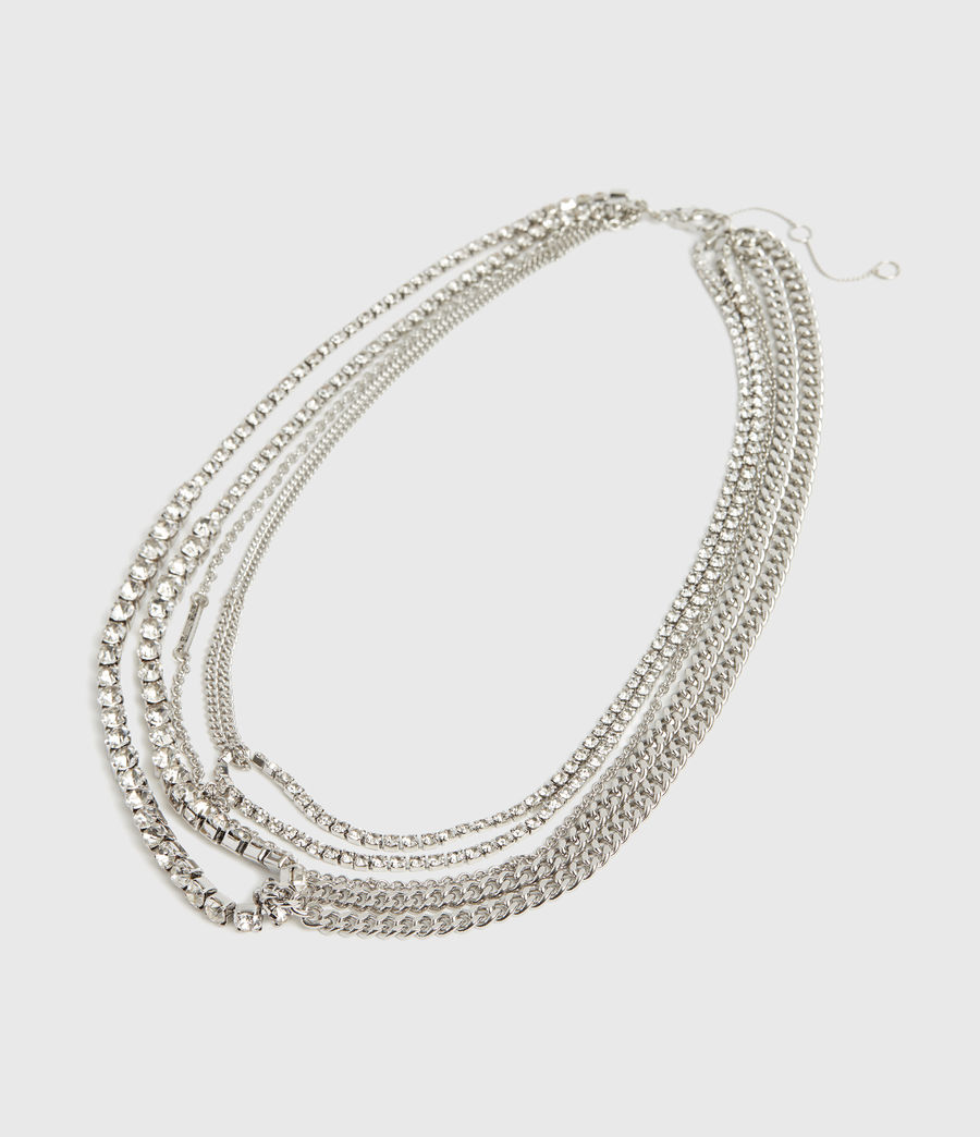 Women's Nina Silver Tone Glass Cubic Zirconia Multirow Necklace (rhodium) - Image 2