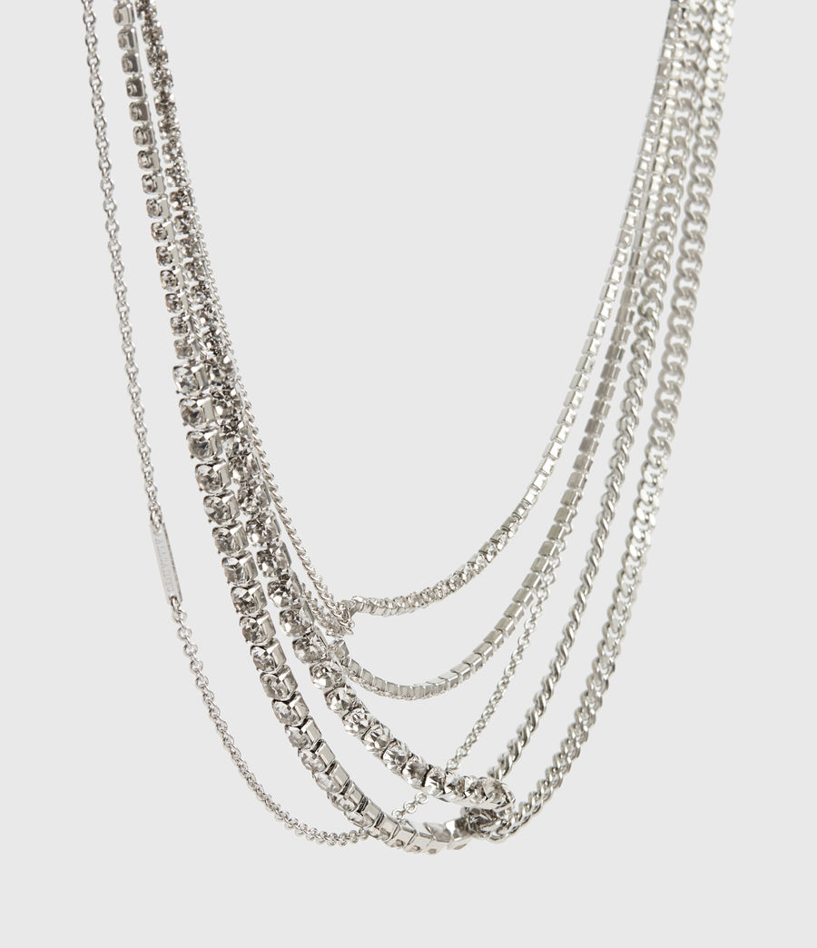 Women's Nina Silver Tone Glass Cubic Zirconia Multirow Necklace (rhodium) - Image 3