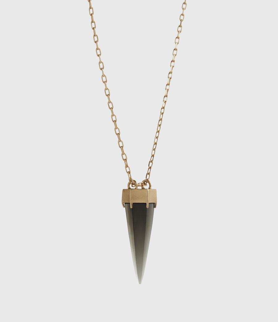 Women's Novia Gold-Tone Smokey Quartz Pendant Necklace (smky_qrtz_wrm_brss) - Image 3