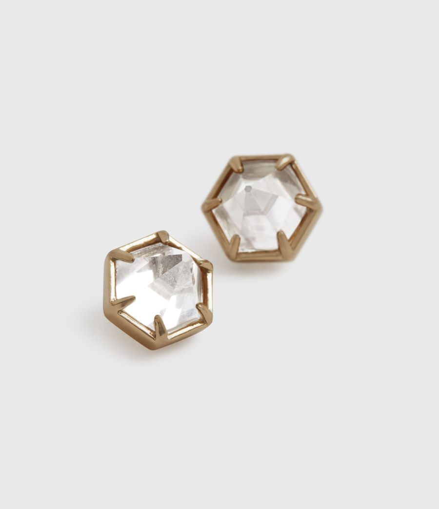 Women's Kailey Gold-Tone Smokey Quartz Stud Earrings (smky_qrtz_wrm_brss) - Image 4