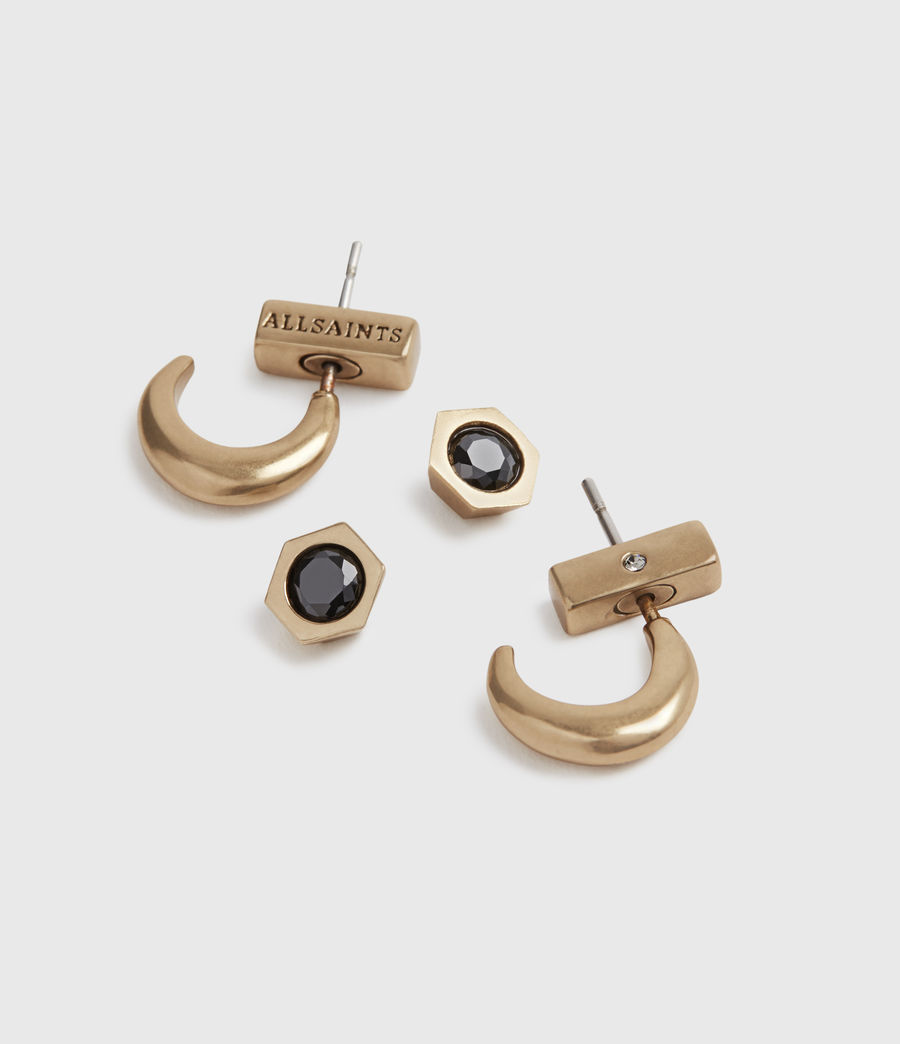 Womens Keely Gold-Tone Earring Set (black_warm_brass) - Image 2