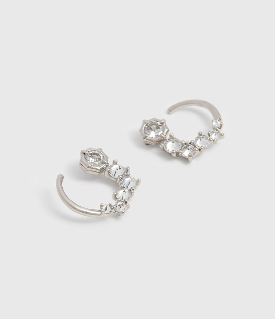 Womens Uli Silver Tone Cubic Zirconia Earrings (rhodium) - Image 2