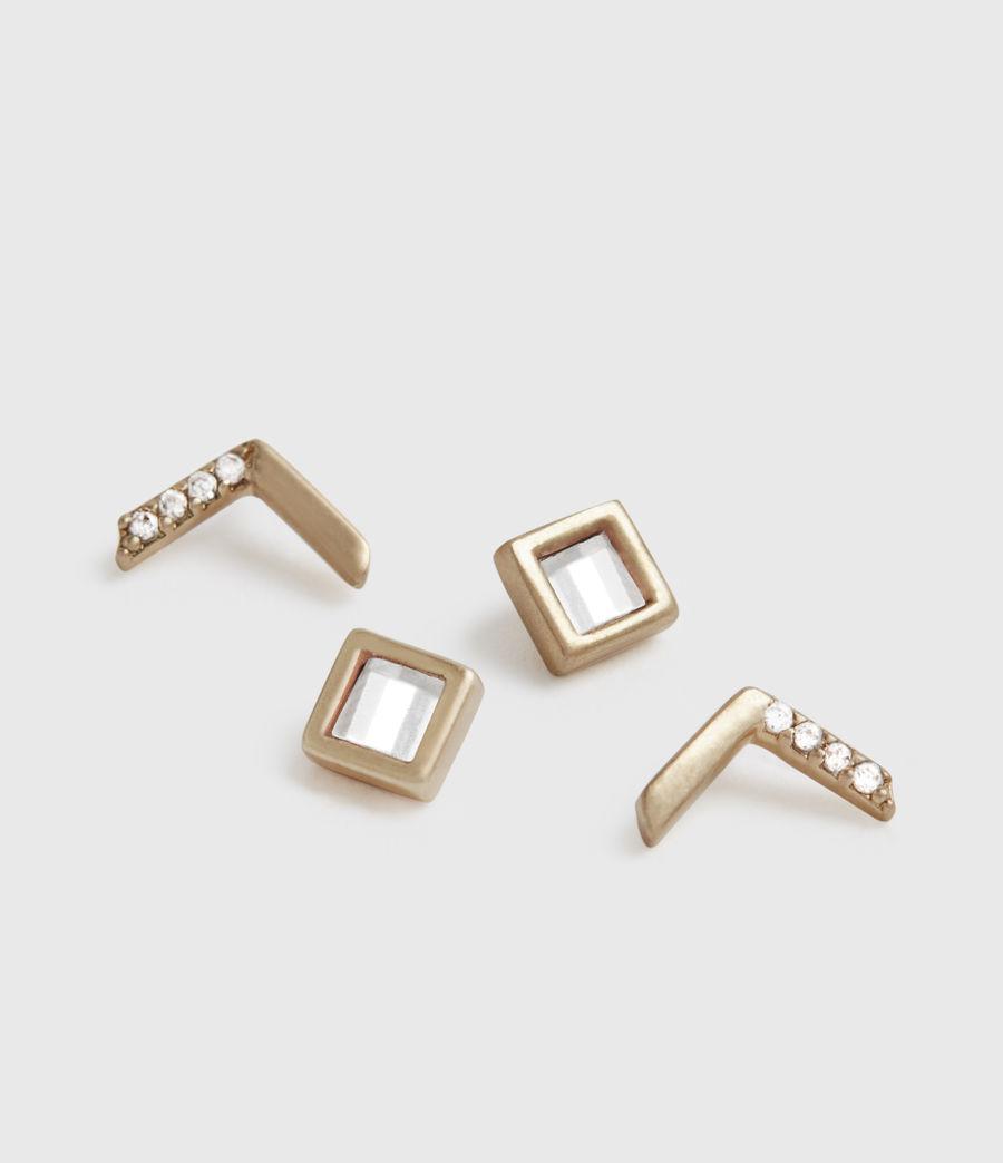 Damen Arrow Stecker Ohrringe (crystal_warm_brass) - Image 1