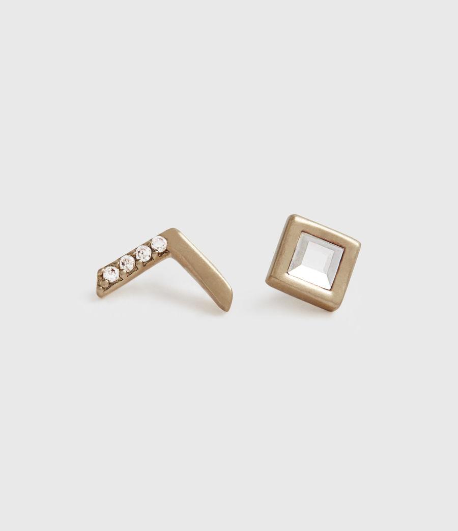 Damen Arrow Stecker Ohrringe (crystal_warm_brass) - Image 3