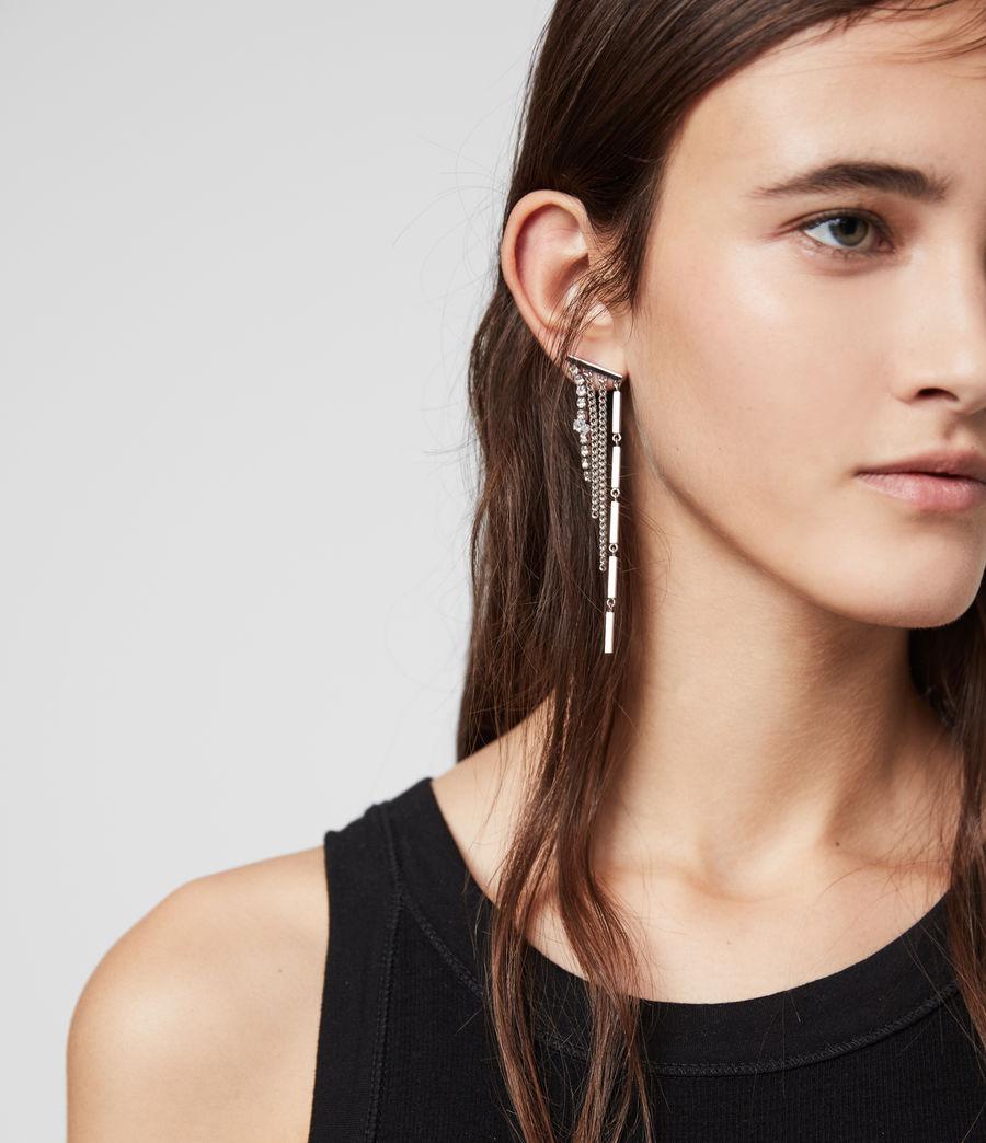 Women's Neve Silver Tone Glass Cubic Zirconia Drop Earrings (rhodium) - Image 2