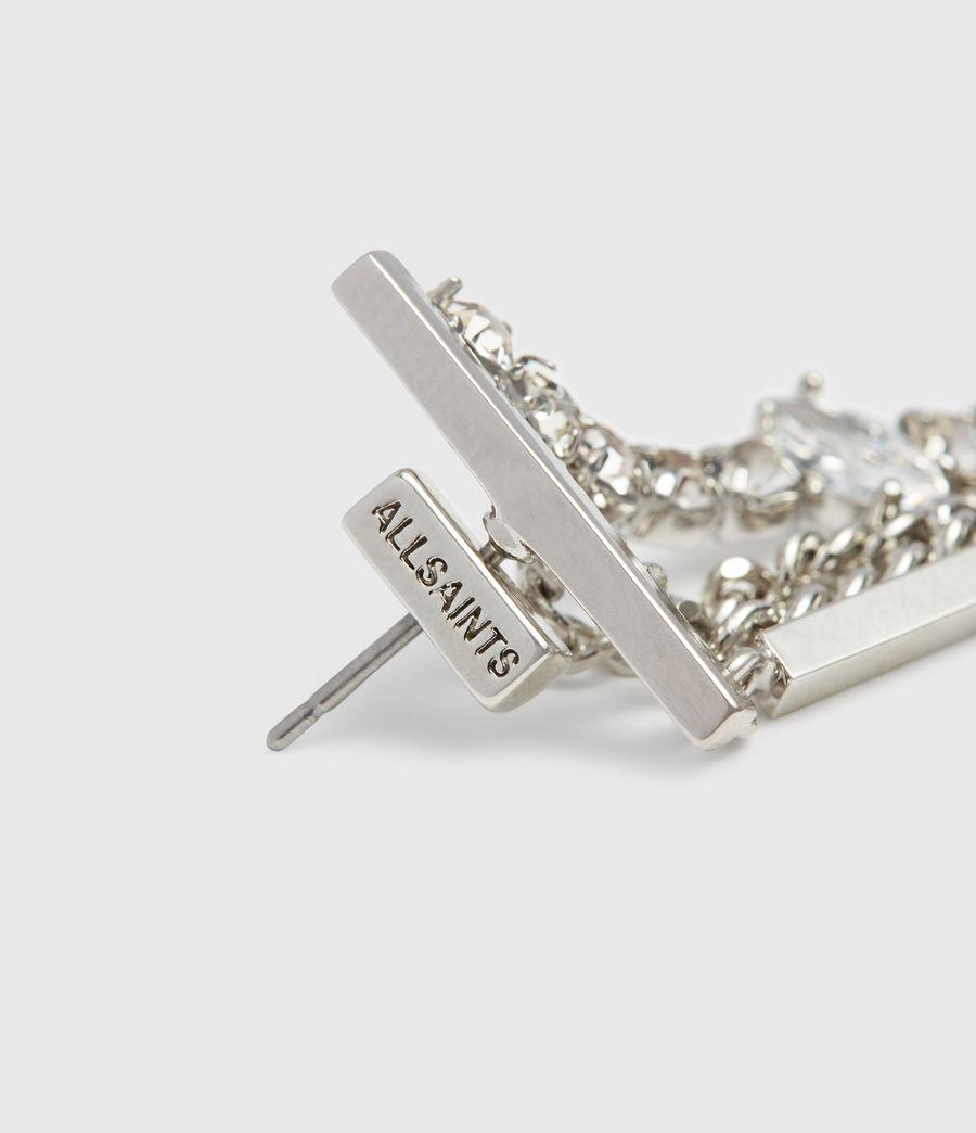 Women's Neve Silver Tone Glass Cubic Zirconia Drop Earrings (rhodium) - Image 4